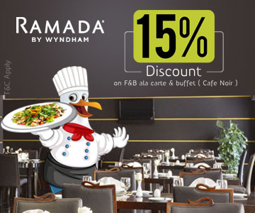 15 Percentage discount on F and B ala carte and buffet Cafe Noir